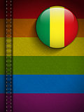 Gay Flag Button on Jeans Fabric Texture Mali