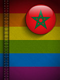 Gay Flag Button on Jeans Fabric Texture Morocco
