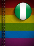 Gay Flag Button on Jeans Fabric Texture Nigeria
