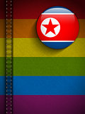 Gay Flag Button on Jeans Fabric Texture North Korea