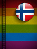 Gay Flag Button on Jeans Fabric Texture Norway