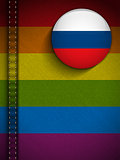 Gay Flag Button on Jeans Fabric Texture Russia