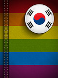 Gay Flag Button on Jeans Fabric Texture South Korea