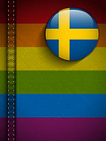 Gay Flag Button on Jeans Fabric Texture Sweden