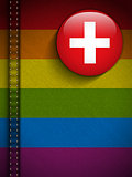 Gay Flag Button on Jeans Fabric Texture Switzerland