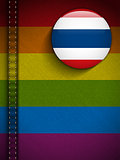 Gay Flag Button on Jeans Fabric Texture Thailand