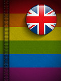 Gay Flag Button on Jeans Fabric Texture UK