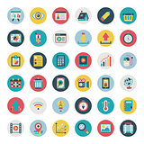 Retro flat icon set