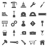 Construction icons on white background