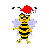 A funny Christmas cartoon bee