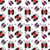 Seamless panda with heart