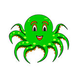 A funny cartoon octopus isolated on a white background