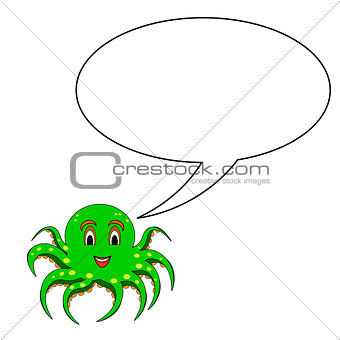 A funny cartoon octopus with a speech bubble