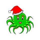 A funny Christmas octopus isolated on a white background