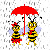 A couple of funny cartoon bees under red umbrella in the rain