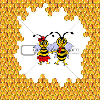 A couple of two funny cartoon bees surrounded by honeycombs