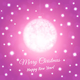 New Year postcard with christmas ball. Pink colored background