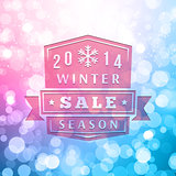 2014 Winter Sale Label On Blurred Vector Background
