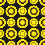 Black and yellow colored retro seamless vector pattern with circles