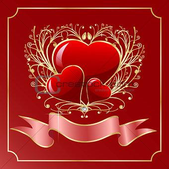 Three heart greeting card
