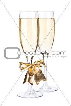 Champagne glasses with bow decor