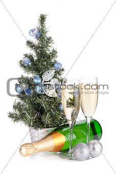 Champagne, firtree and christmas decor