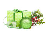 Christmas gift box, decor and tree