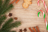 Christmas fir tree, gingerbread cookie and candy cane