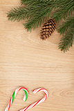 Christmas fir tree and candy cane