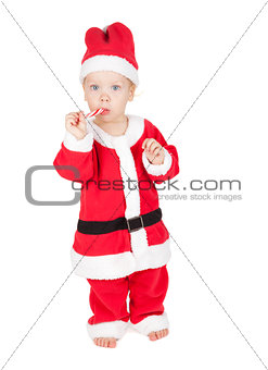 Baby santa with candy cane