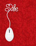 Computer Mouse Sale Red Background Illustration