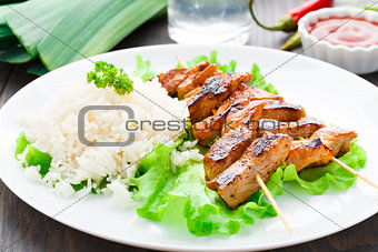 Grilled marinated pork with rice