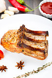 Baked pork rib chop