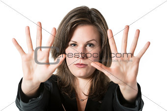 Business woman hand stop