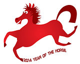 2014 Abstract Red Chinese Horse Illustration