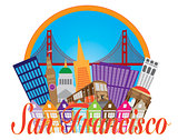 San Francisco Abstract Skyline Golden Gate Bridge Illustration