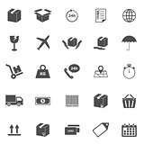 Shipping icons on white background