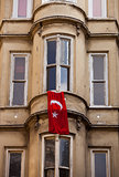 Turkish Flag Hung from Istanbul Window