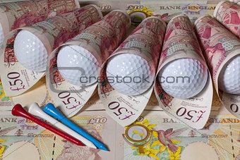 British pounds and golf balls
