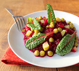 salad with beets, cucumber, peas