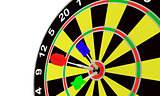 Darts and target for leisure game on a white background