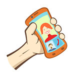 Vector hand holding smart phone