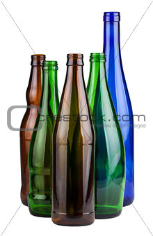 Five empty bottles