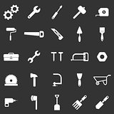 Tool icons on black background