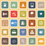 Toy flat icons on orange background