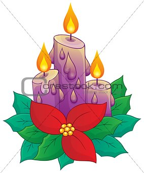Christmas candle with flower