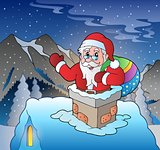 Santa Claus on roof in mountain