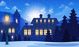 Winter town background 1