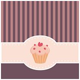 Vector card or invitation with sweet muffin cupcake, heart and pink violet strips.