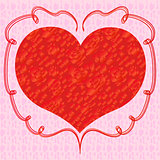 Heart with red roses on a pink background